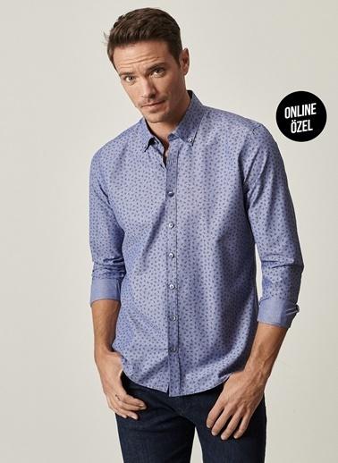 AC&Co / Altınyıldız Classics Tailored Slim Fit Düğmeli Yaka Baskılı Gömlek 4A2021100074 İndigo